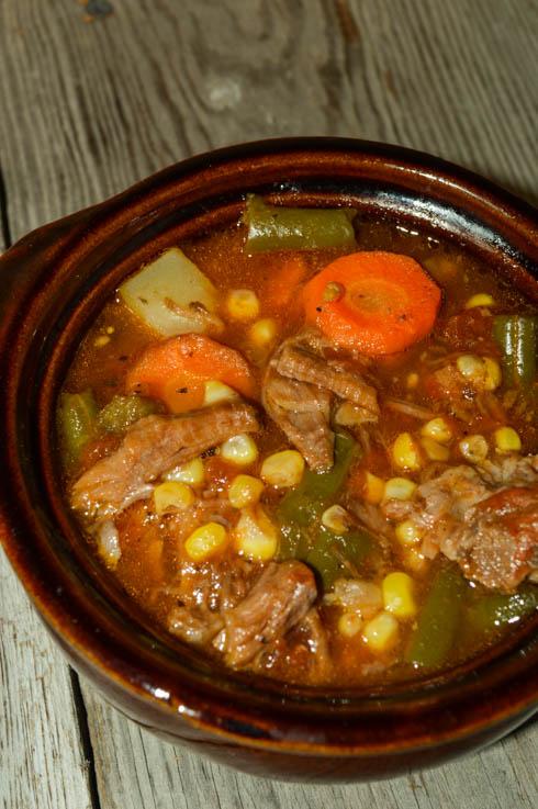 Leftover Greek Beef Vegetable Soup