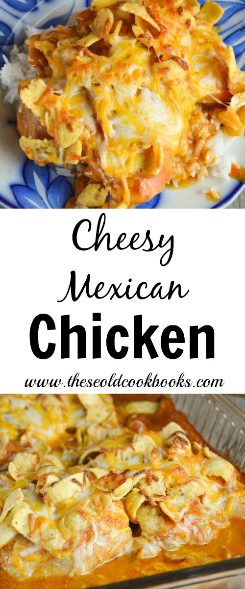 This Cheesy Mexican Chicken is a family-pleasing dinner option with corn chips and cheese on top and served on a bed of rice.