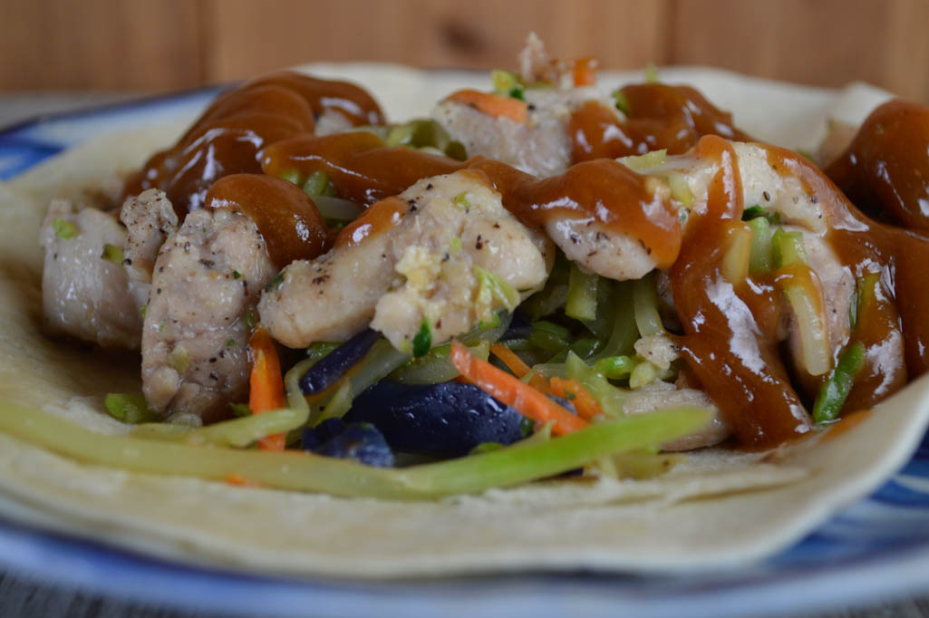 Thai Chicken Wraps Recipe with Peanut Sauce