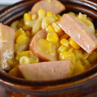 Crock Pot Cheesy Corn and Smoked Sausage Pasta Bake