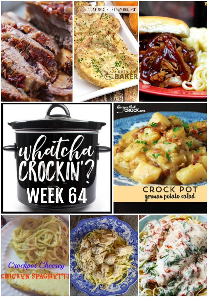 This week's Whatcha Crockin' crock pot recipes include Slow Cooker Onion Cream Pork Chops, Slow Cooker Creamy Tuscan Chicken, Crock Pot Cheesey Chicken Spaghetti, Slow Cooker Beef Brisket, Instant Pot Golden Chicken Imperial, German Potato Salad, Slow Cooker Root Beer Beef BBQ and more!