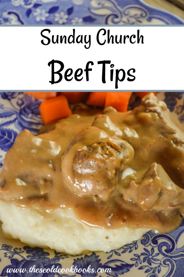 These Sunday Church Beef Tips recipe uses just five ingredients to make a hearty dish to feed a hungry family. Serve this with mashed potatoes or egg noodles and a vegetable side and everyone will be happy.