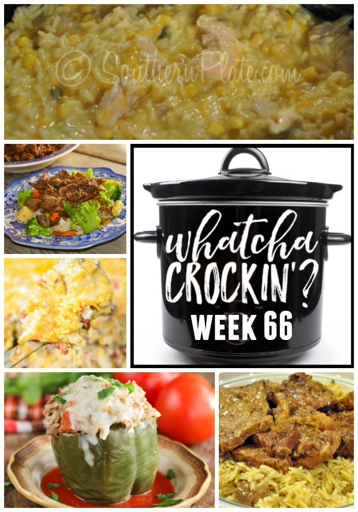 This week's Whatcha Crockin' crock pot recipes include Slow Cooker Cheesy Chicken and Rice, Instant Pot Italian Stuffed Peppers, Crock Pot Round Steak, Instant Pot Hawaiian Beef, Crock Pot Sweet Corn Sausage Rice Casserole, Smothered Chicken, Crock Pot Cheesy Chicken and Noodles and more!