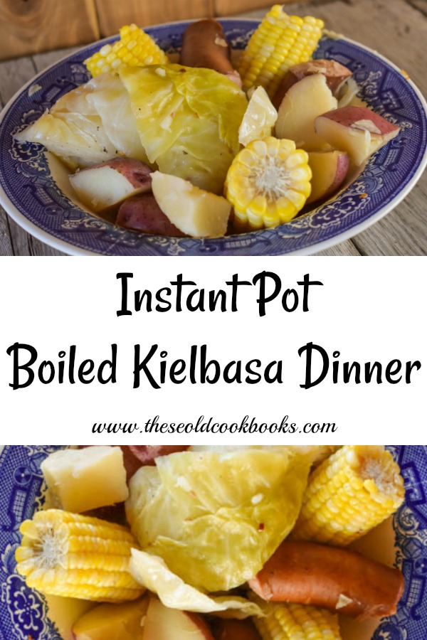 This Instant Pot Boiled Kielbasa Dinner features cabbage, potatoes and corn and is ready in less than 15 minutes. It is a perfect summer meal when sweet corn is in season that the entire family will enjoy. You can also use frozen sweet corn on the cob.