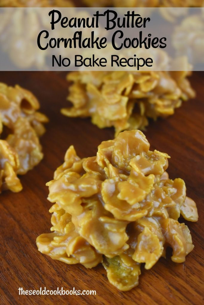Peanut Butter Cornflake Drop Cookies contain 4 simple ingredients transformed into a no bake cookie sensation. You too can conquer these easy, chewy cookies with a perfectly peanut butter flavor, in approximately 10 minutes flat.