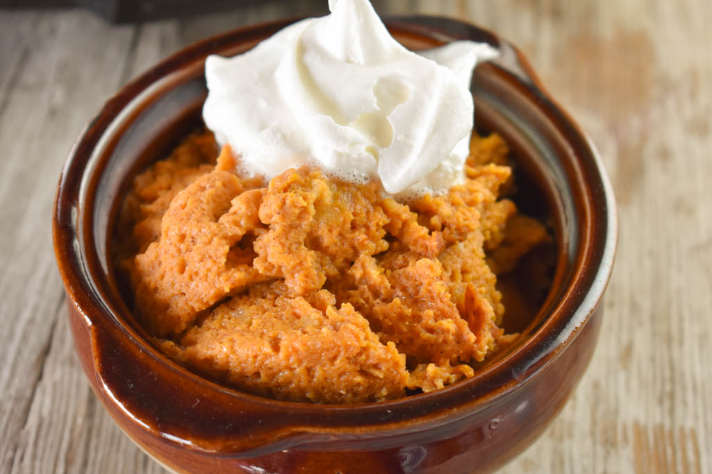 Slow Cooker Pumpkin Pie Pudding recipe is a crustless dessert perfect for a holiday dessert.