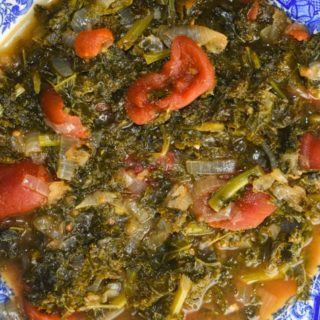 Instant Pot Tomato Braised Kale takes just minutes to prep and make and is a great side dish option.