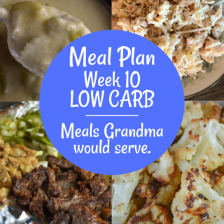 The Weekly Meal Plan for Week 10 includes a ton of great low carb/keto recipes including Grilled Pork Steak and Instant Pot Braised Kale, Crust-less Make Ahead Ham and Cheese Quiche, Crock Pot Pepper Jack Chicken, Sheet Pan Fajitas, Lemon Chicken Salad and Cream of Celery Soup, Taco Stuffed Peppers, Baked Tilapia and Roasted Cauliflower.