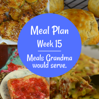The Weekly Meal Plan for Week 15 includes Vintage Barbecue Burgers, Pan Fried Zucchini, Eggs in a Basket, Classic Zucchini Bread, Strawberry Rhubarb Jam, Tuna Melt Turnovers, Crock Pot Calico Beans, Instant Pot Taco Beef, Taco Chopped Salad, Creamed Chipped Beef Gravy, French Onion Joes, Crock Pot Cheesy Corn, 3 Ingredient Chicken Salad and Dill Pea Salad.