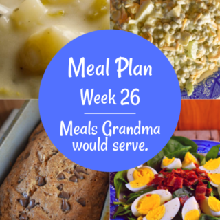 The Weekly Meal Plan for Week 26 includes Potato Soup, Sweet Cornbread, Mom's Perfect Zucchini Bread, Cake Mix Surprise Cinnamon Loaves, Crock Pot Apple Pork Chops, Summer Roasted Vegetables, Pressure Cooker Taco Beef, Sweet Corn Casserole, Classic Spinach Salad, Crock Pot Chicken Corn Chowder, Classic Sloppy Joes, Old Fashioned Pea Salad, Sloppy Joe Cups and Baked Apple Surprise.