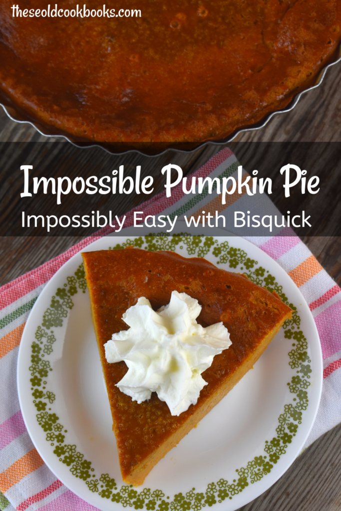If you are looking for a fail-proof pumpkin pie that is perfectly spiced and dense, then look no farther than our Impossible Pumpkin Pie recipe. This is a vintage recipe that features Bisquick. Blend all the ingredients together in one-step, pour into a pie plate, and the rest is magic. No pie crust required.