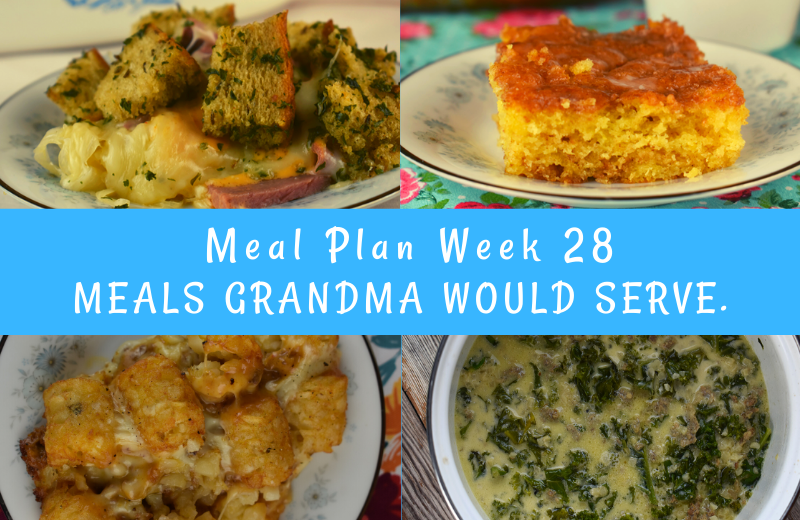 The Weekly Meal Plan for Week 28 includes Slow Cooker Lasagna featuring Bloody Mary Mix, Crock Pot Brisket, Cheesy Potatoes topped in Bacon, Easy Reuben Casserole, Slow Cooker Enchilada Meatloaf and Cheesy Frito Salad, Low Carb Tuscan Kale Soup, Frisco Tater Tot Casserole, Chicken Noodle Casserole and Honey Bun Coffee Cake.
