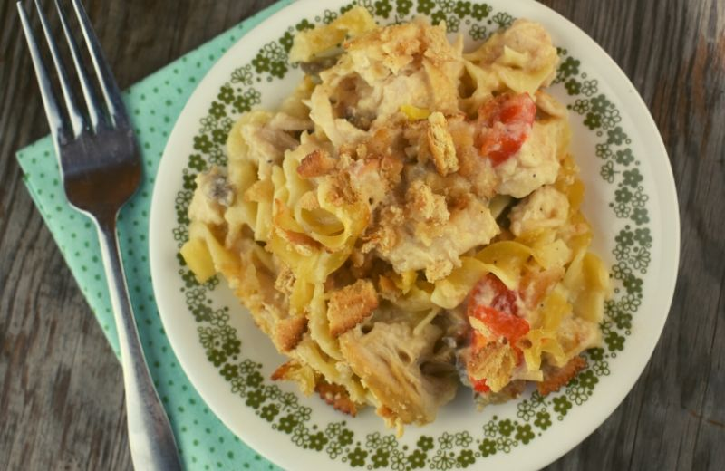 Our version of homemade Chicken Tetrazzini Casserole is without canned soup, sour cream and cream. Instead, the cheesy sauce is made from milk, chicken broth, and shredded Parmesan. I guess you could say this is just like Grandma would make back in her day.