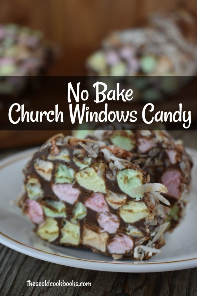 Church Windows Candy is a fun, festive no bake recipe that kids love to make and eat! Colored mini marshmallows are coated in a chocolate mixture and rolled up. When ready to serve, slice them up to look like cathedral window cookies.