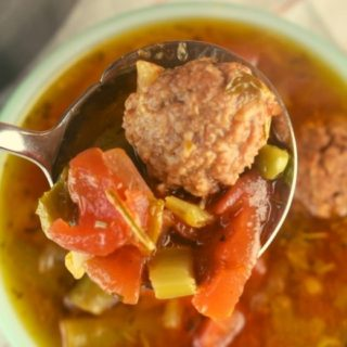 Frozen Meatball Vegetable Soup uses two shortcut ingredients, frozen meatballs and frozen vegetables, to make a hearty and delicious weeknight dinner.  Your traditional vegetable soup has been reimagined.