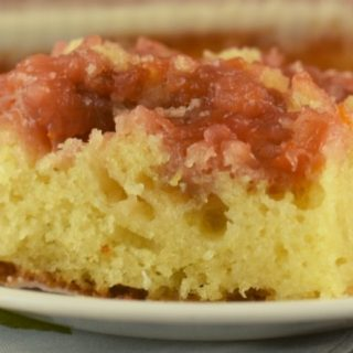 Rhubarb Spoon Cake has the texture of a rhubarb sponge cake and is served like a rhubarb upside cake.  The best part is that it's a rhubarb cake using a cake mix and can be made with frozen or fresh rhubarb.