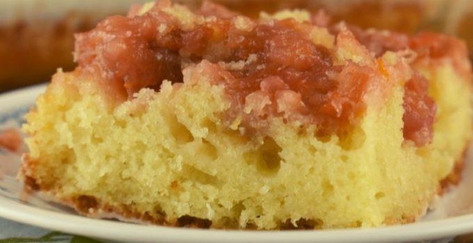 Rhubarb Spoon Cake – A Rhubarb Cake with Cake Mix